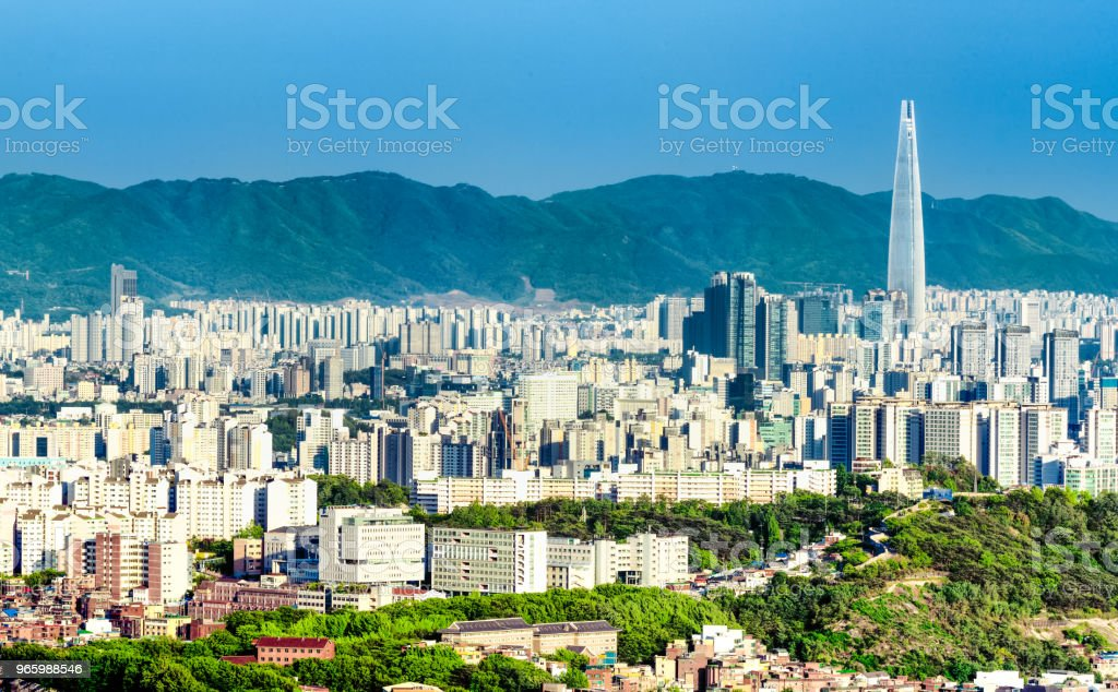 Cityscape of city Seoul and  Lotte world mall with traffic highway , South Korea - Royalty-free Aerial View Stock Photo