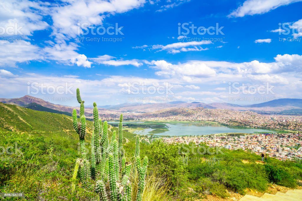 Cityscape of Cochabamba from Cerro de San Pedro hill stock photo