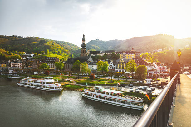 Cityscape of Cochem and the River Moselle, Germany stock photo