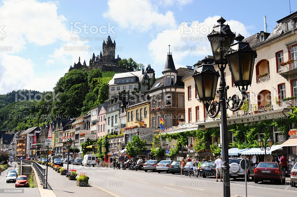 Cityscape of Cochem with its typical half-timbered houses and re stock photo