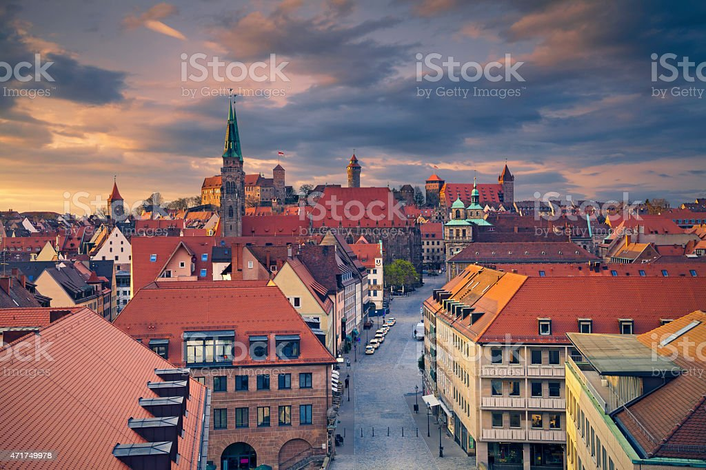 Cityscape of colorful Nuremberg at dusk stock photo