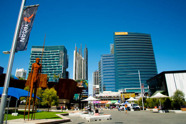 Cityscape of commercial buildings & newly built Yagan Square stock photo