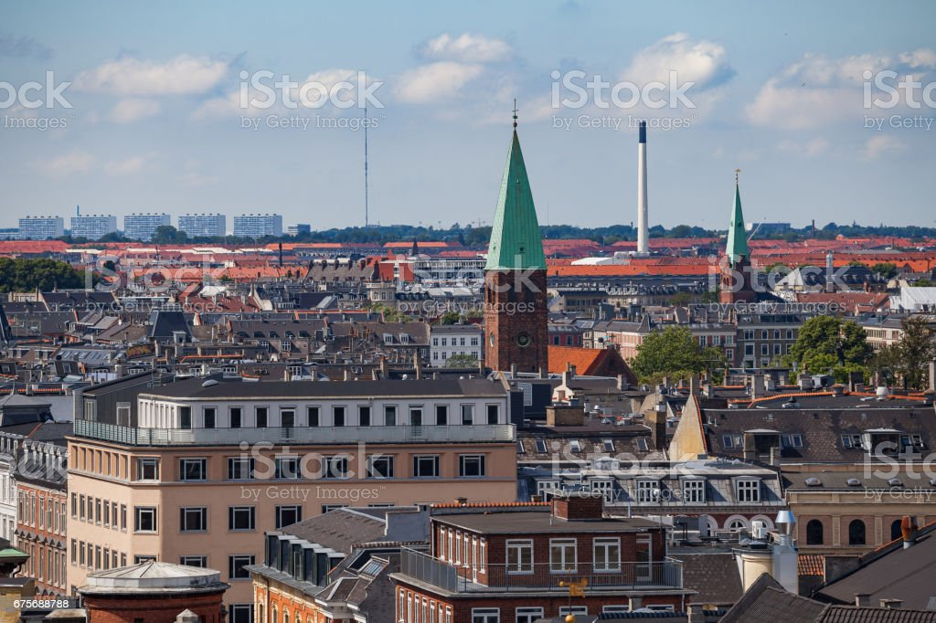 Cityscape of Copenhagen from the Round Tower. City center streets and towers royalty-free stock photo