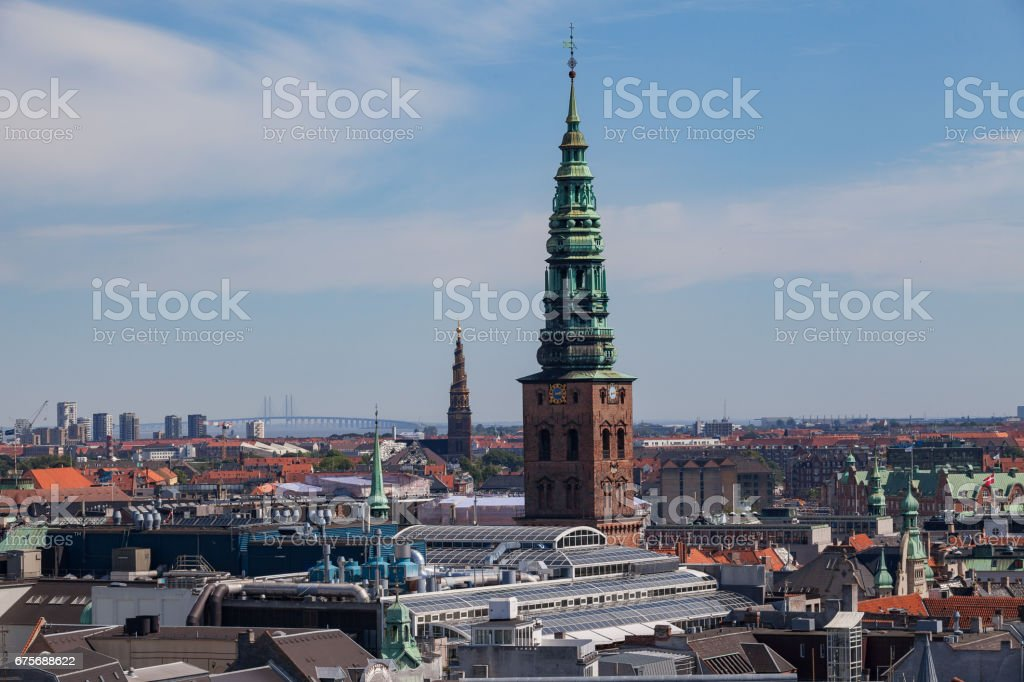 Cityscape of Copenhagen from the Round Tower. Tower of former Nikolaj church royalty-free stock photo