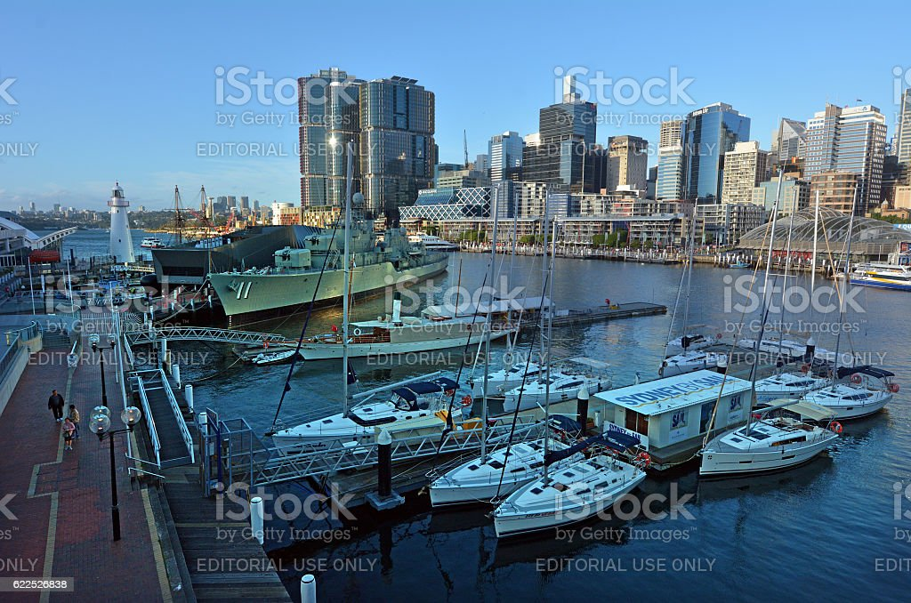 Cityscape of Darling Harbour Sydney New South Wales Australia stock photo