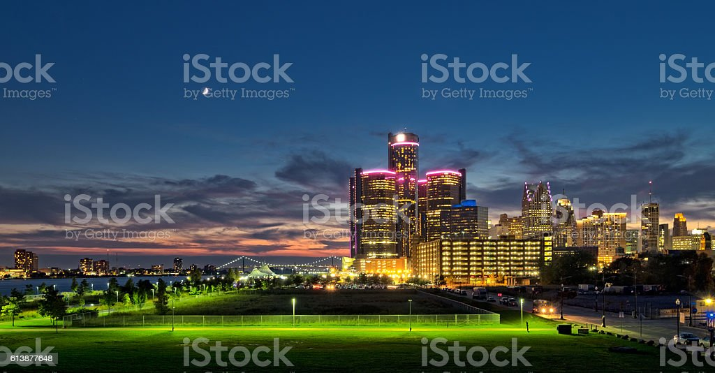 Cityscape of Detroit at sunset stock photo