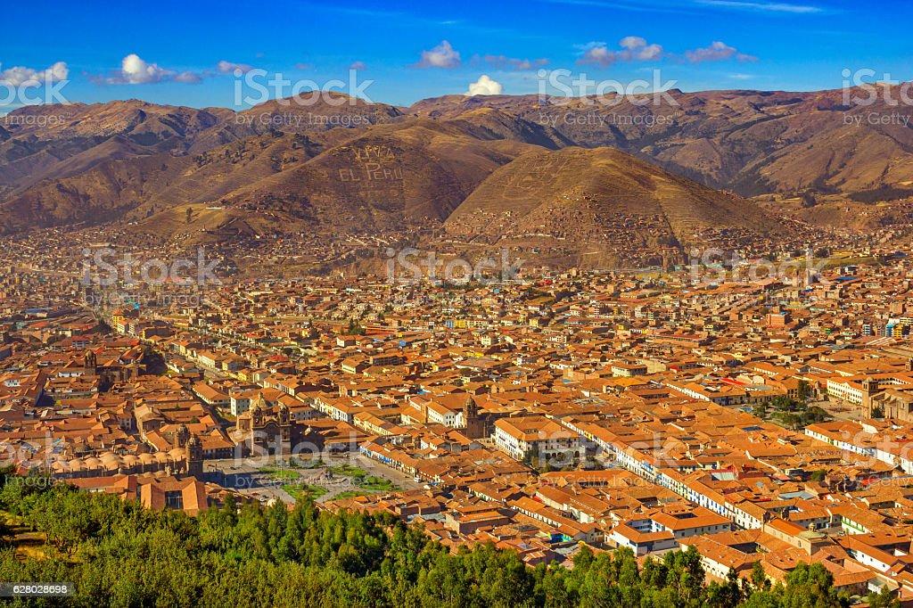 Cityscape of Downtown Cusco City Peru stock photo