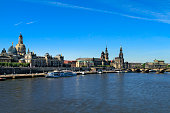 Cityscape with Frauenkirche church, Dresden Cathedral and Dresden Castle, Elbe river, historic centre, Dresden, Saxony, Germany, Europe