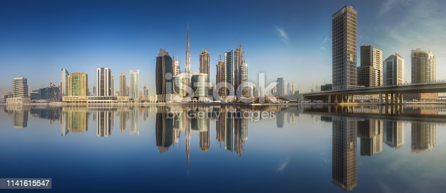 istock Cityscape of Dubai and panoramic view of Business bay, UAE 1141615547