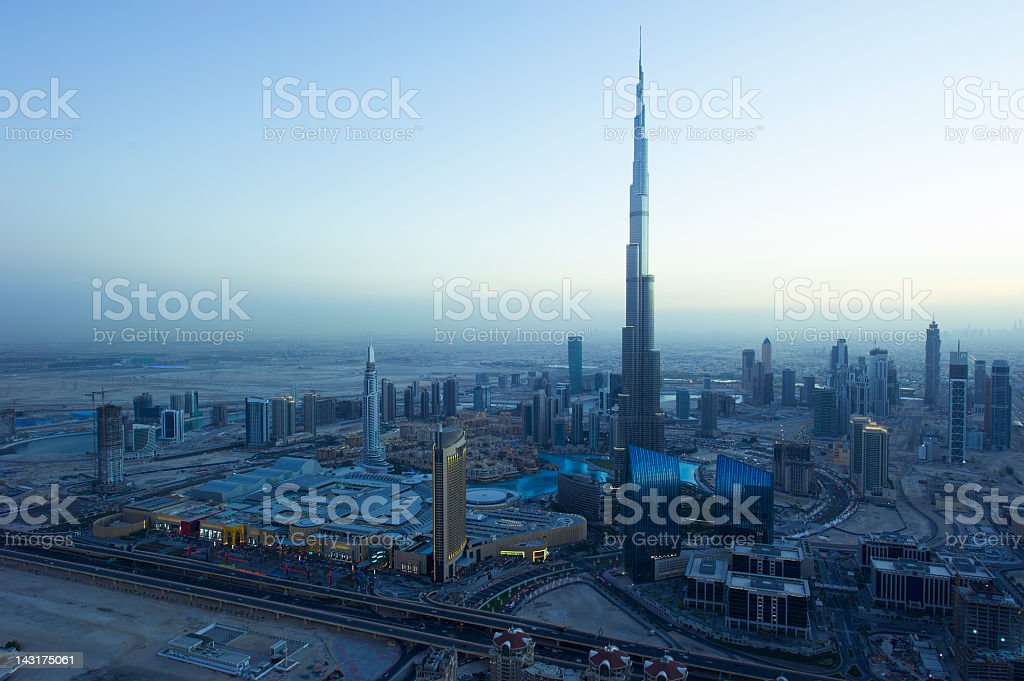 Cityscape of Dubai, India at sunset stock photo
