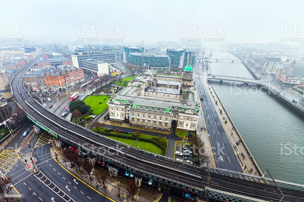 Cityscape of Dublin with the freeway on a cloudy day stock photo