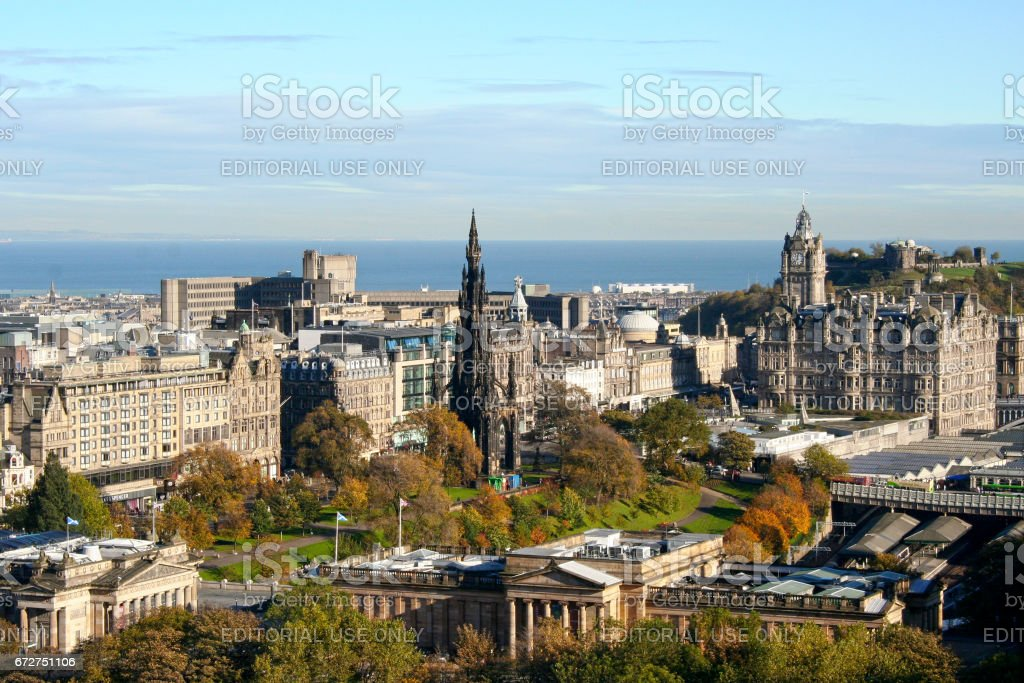 Cityscape of Edinburgh in Scotland stock photo