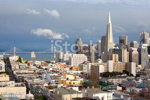 Cityscape of Financial District and san francisco-oakland bay bridge, San Francisco, California, United States