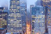 cityscape of Financial District at dawn, San Francisco, California, USA