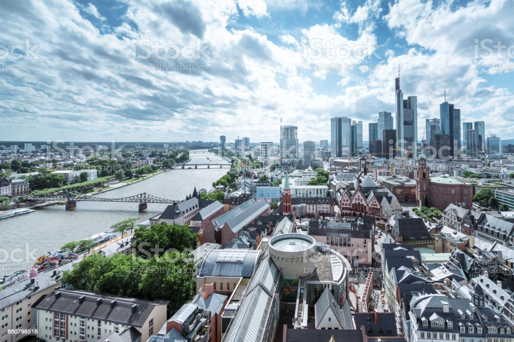 Cityscape of Frankfurt am Main, Germany stock photo