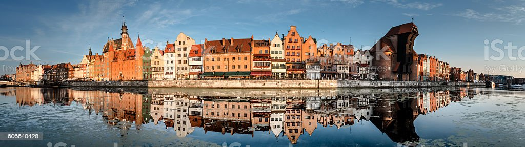 Cityscape of Gdansk with reflection, panorama stock photo