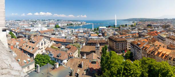 Cityscape of Geneva with fountain Jet d'Eau in Switzerland stock photo