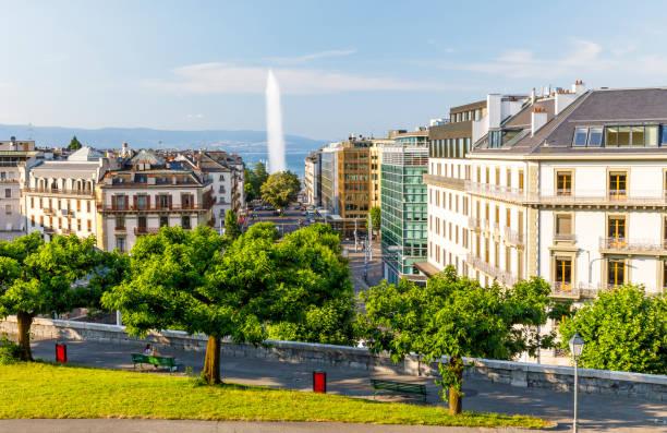 Cityscape of Geneva with Jet d'eau fountain stock photo