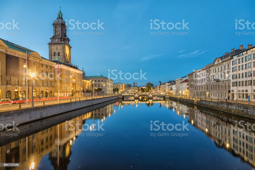 Cityscape of Gothenburg from Big Harbor Canal stock photo