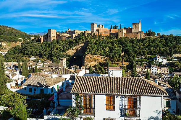 Cityscape of Granada, Spain Cityscape of Granada, Spain. Photo shot from vantage point on hill overlooking the town. palacios nazaries stock pictures, royalty-free photos & images