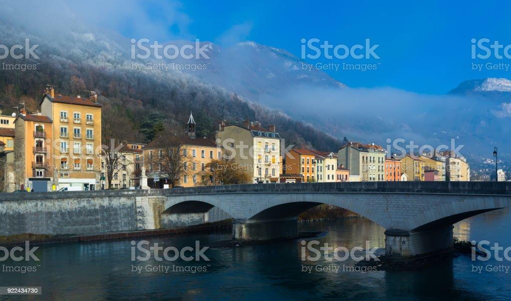 Cityscape of Grenoble, France stock photo