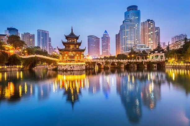 paesaggio urbano di notte di guiyang - cina foto e immagini stock