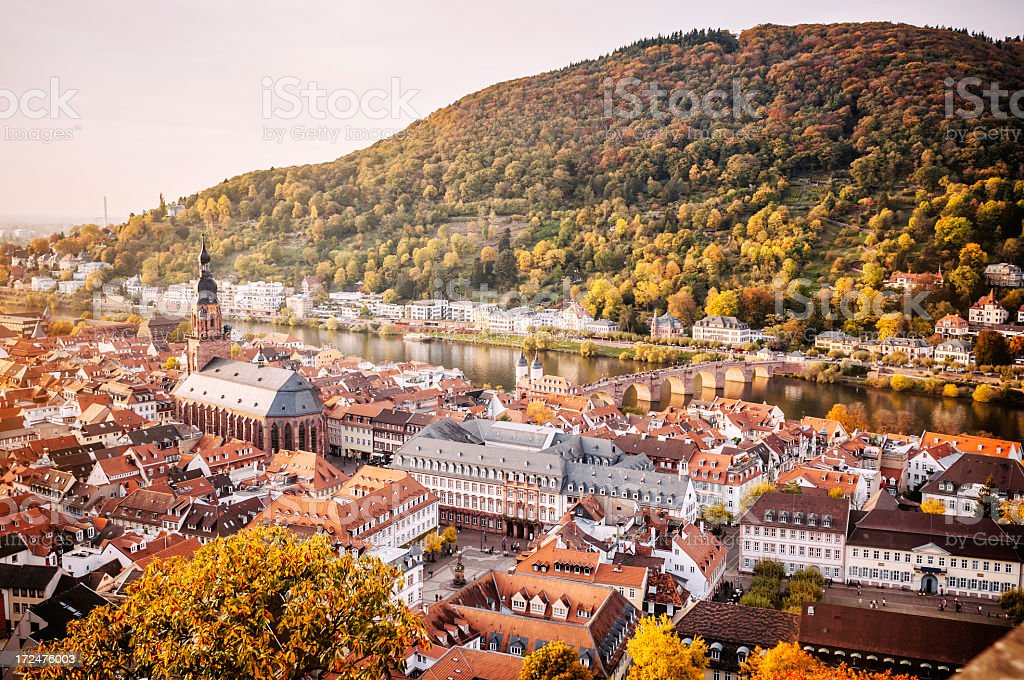 Cityscape of Heidelberg at sunset royalty-free stock photo
