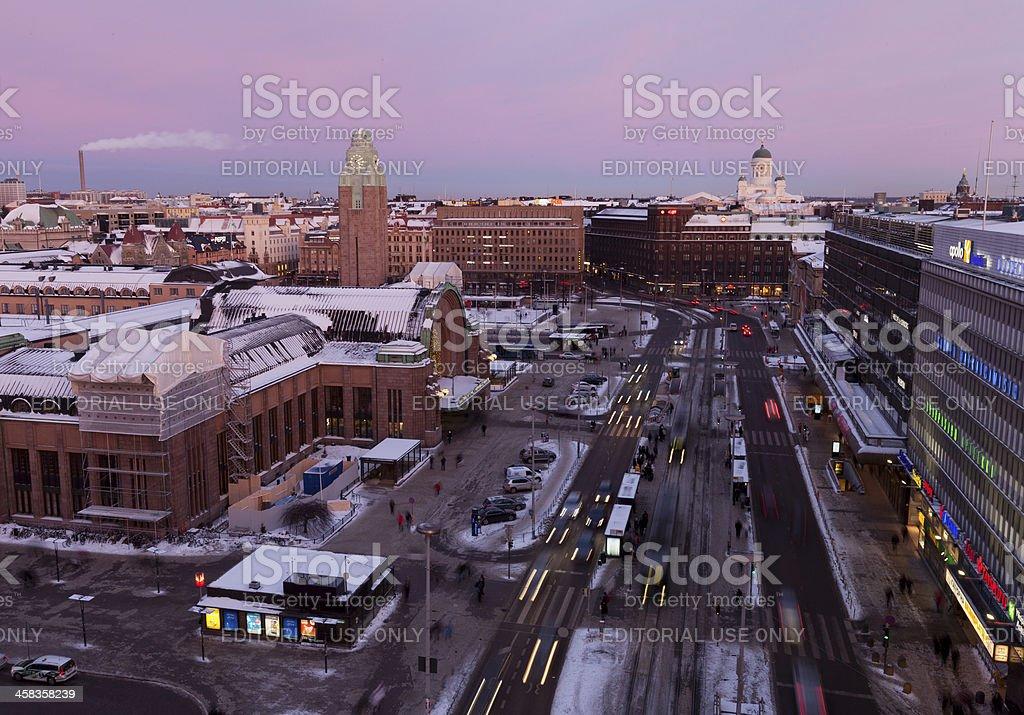 Cityscape of Helsinki at dusk stock photo