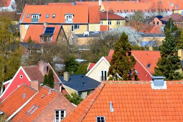 Cityscape of Hillerød, Denmark stock photo