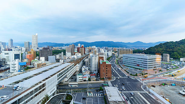 Cityscape of Hiroshima Cityscape of Hiroshima viewing train station, business center and skyscrapers , Japan hiroshima prefecture stock pictures, royalty-free photos & images