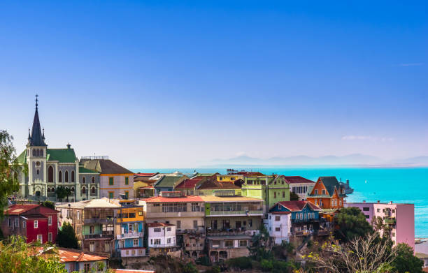 Cityscape of historical city Valparaiso View on Cityscape of historical city Valparaiso chile stock pictures, royalty-free photos & images