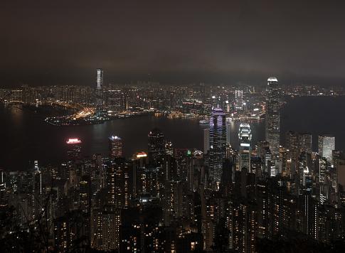 Cityscape Of Hong Kong Downtown City Night From Top View - zdjęcia stockowe i więcej obrazów Architektura