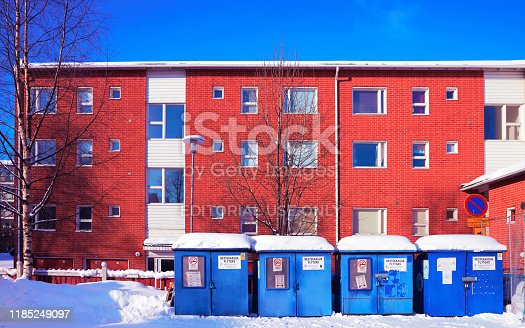 istock Cityscape of House in Snow winter in Lapland Waste recycling 1185249097