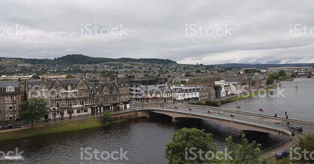 Cityscape of Inverness in Scotland Highlands stock photo