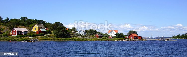 Cityscape of island village Tärnö, the largest and southernmost island in Hällaryd archipelago in Sweden.