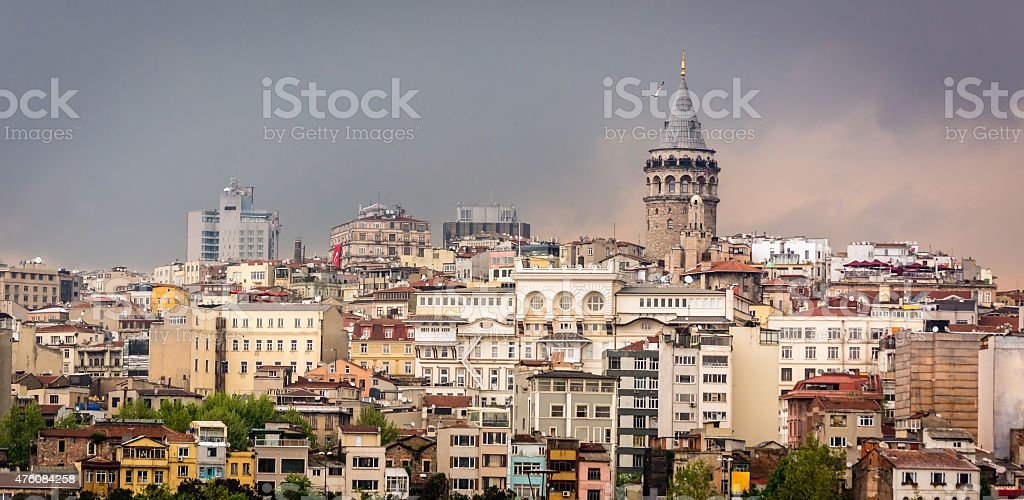 Cityscape of Istanbul. Galata tower. Cloudy city stock photo