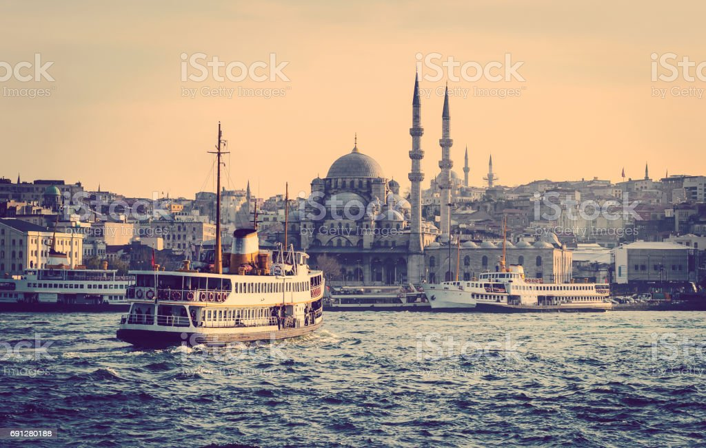 Cityscape of Istanbul with vapur. stock photo