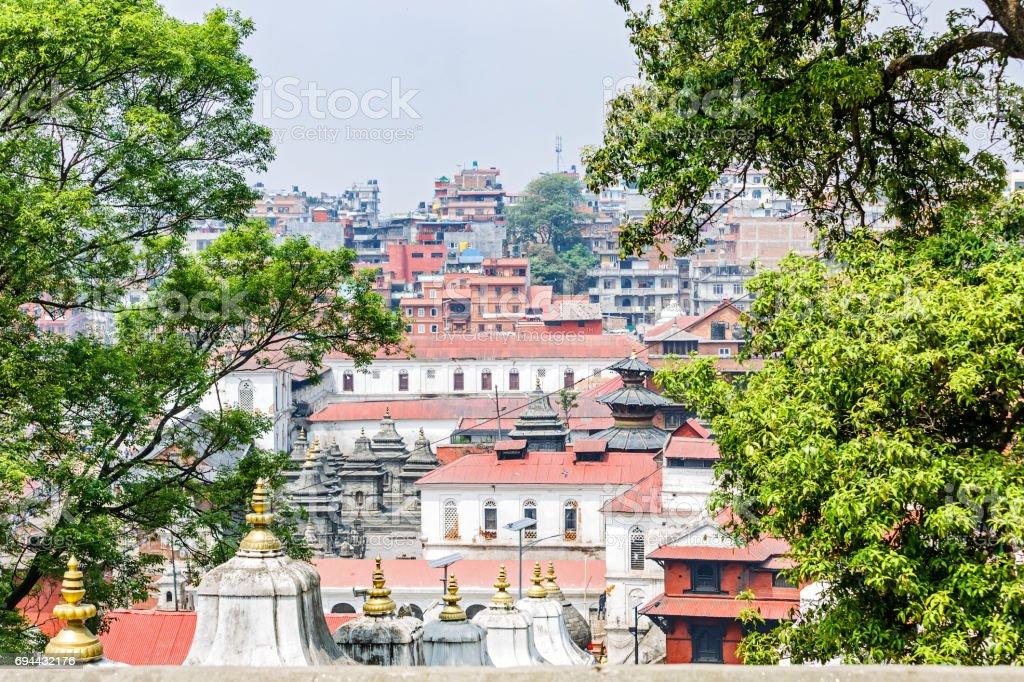 Cityscape of Kathmandu and Pashupatinath stock photo