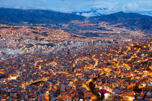 Cityscape of La Paz at Dusk, Bolivia