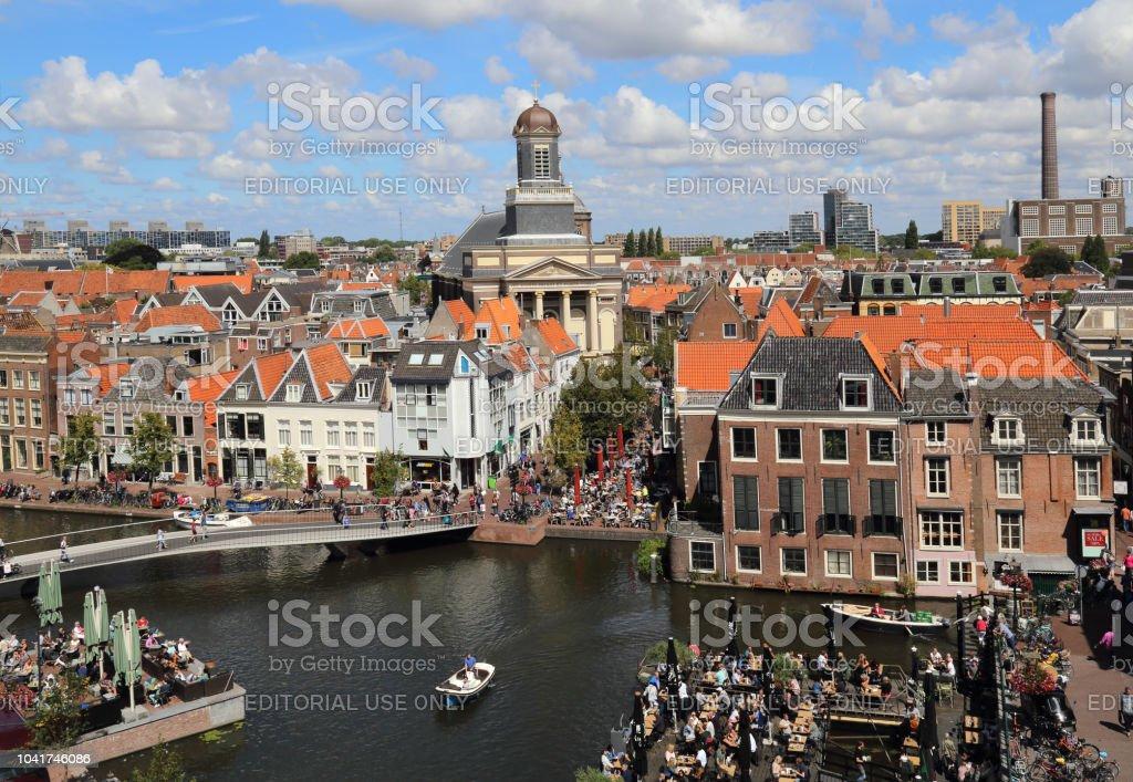 Cityscape of Leiden in Holland stock photo