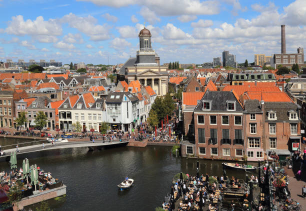 Cityscape of Leiden in Holland stock photo
