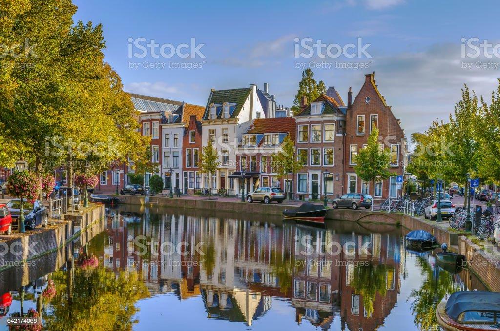 Cityscape of Leiden, Netherlands stock photo