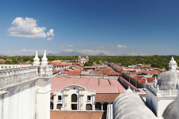 Cityscape of leon town in Nicaragua stock photo