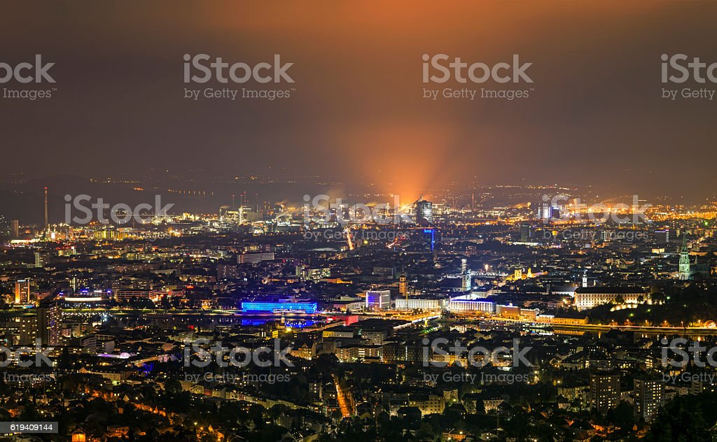 Cityscape of Linz, Austria at night stock photo