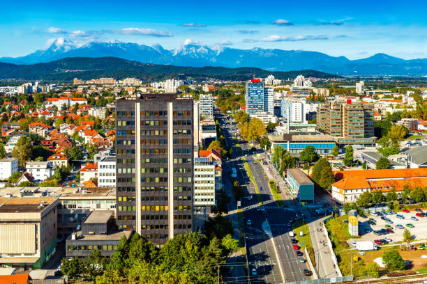 Cityscape of Ljubljana with the beautiful Alps in the background, Slovenia stock photo