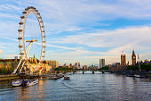 London, UK - June 20, 2016: cityscape of London, UK, with the famous London Eye, viewed over the Thames. London is the most populous city in the EU and one of the most important cultural, finance and trade cities of the world.