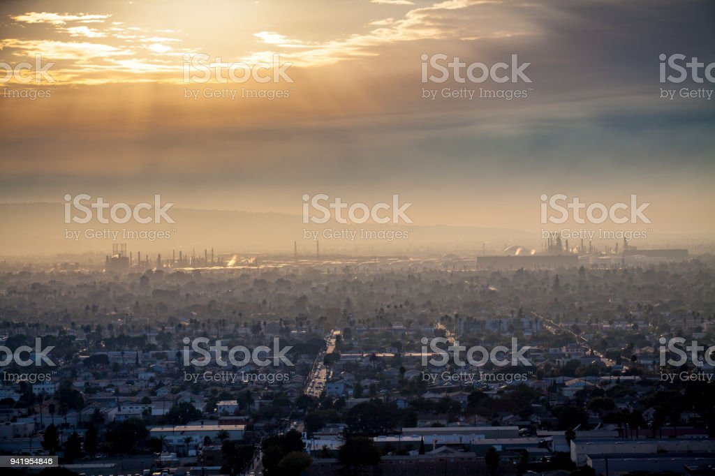 Cityscape of Long Beach and the Andeavor Refinery in Carson stock photo