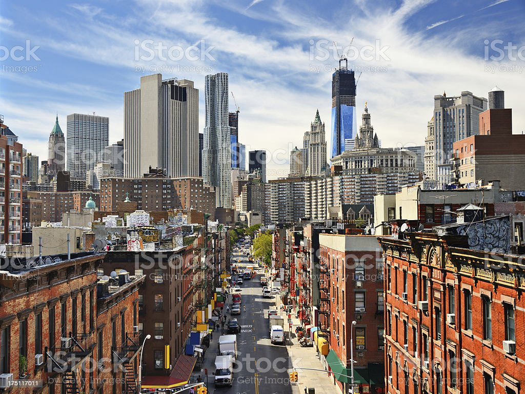 Cityscape of lower Manhattan with a blue sky stock photo