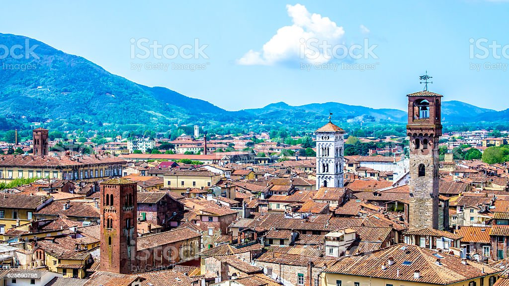 cityscape of Lucca, in Tuscany, Italy stock photo