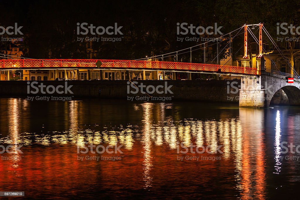 Cityscape of Lyon, France at night royalty-free stock photo